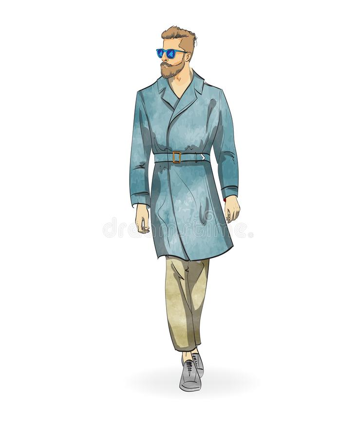 Sketch of a fashionable man vector illustration