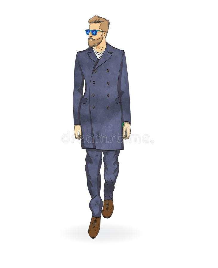 Sketch of a fashionable man royalty free illustration