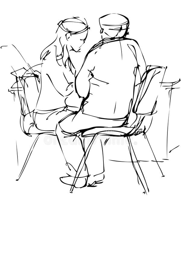 Sketch a fellow and girl are at a table. A sketch a fellow and girl are at a table vector illustration