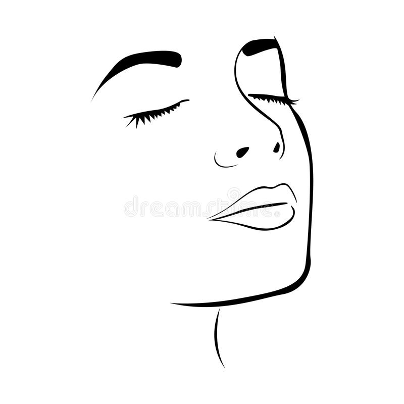 Sketch Female Face Silhouette With Eyes Closed Stock Illustration