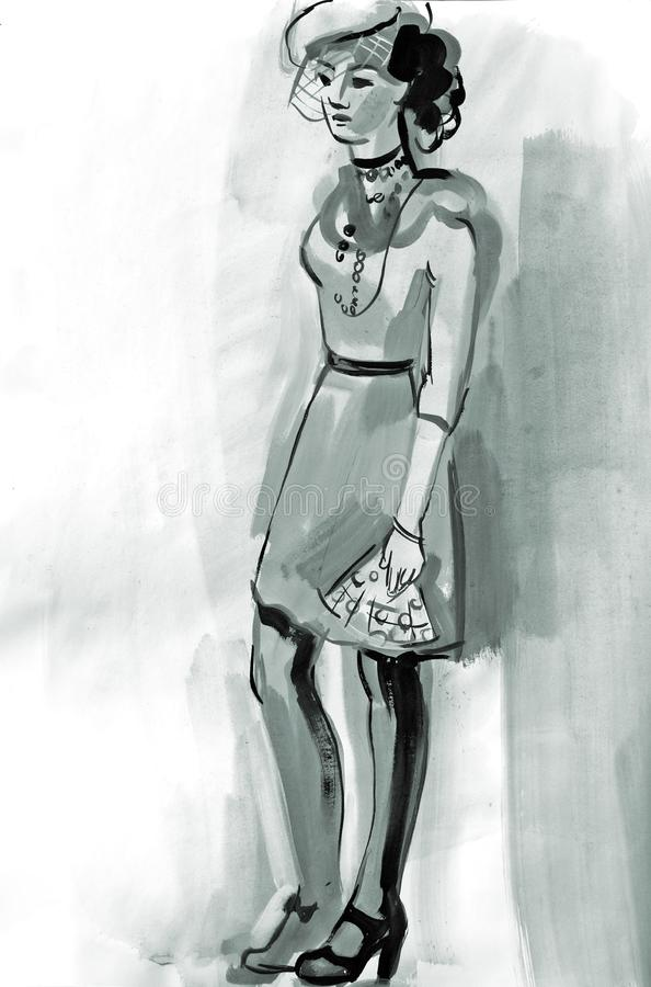 Sketch of a female figure. Hand-drawing in gouache stock illustration