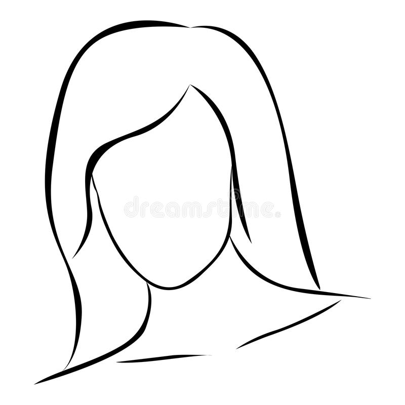 sketch female front view faceless silhouette icon royalty free illustration