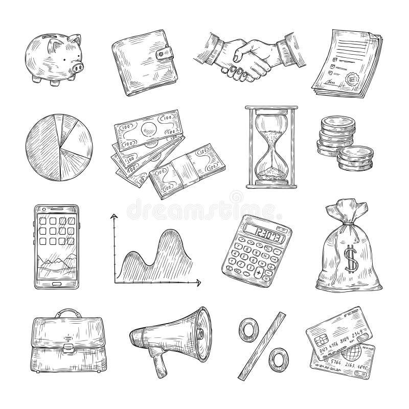 Sketch finance. Hand drawn money coin pile financial charts piggy bank credit card dollar vintage banking business vector illustration