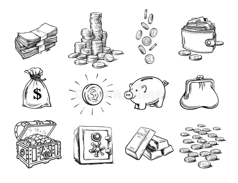 Sketch of finance money set. Sack of dollars, stack of coins, coin with dollar sign, treasure chest, stack of bills. Falling coins, bank safe, piggy bank, gold royalty free illustration