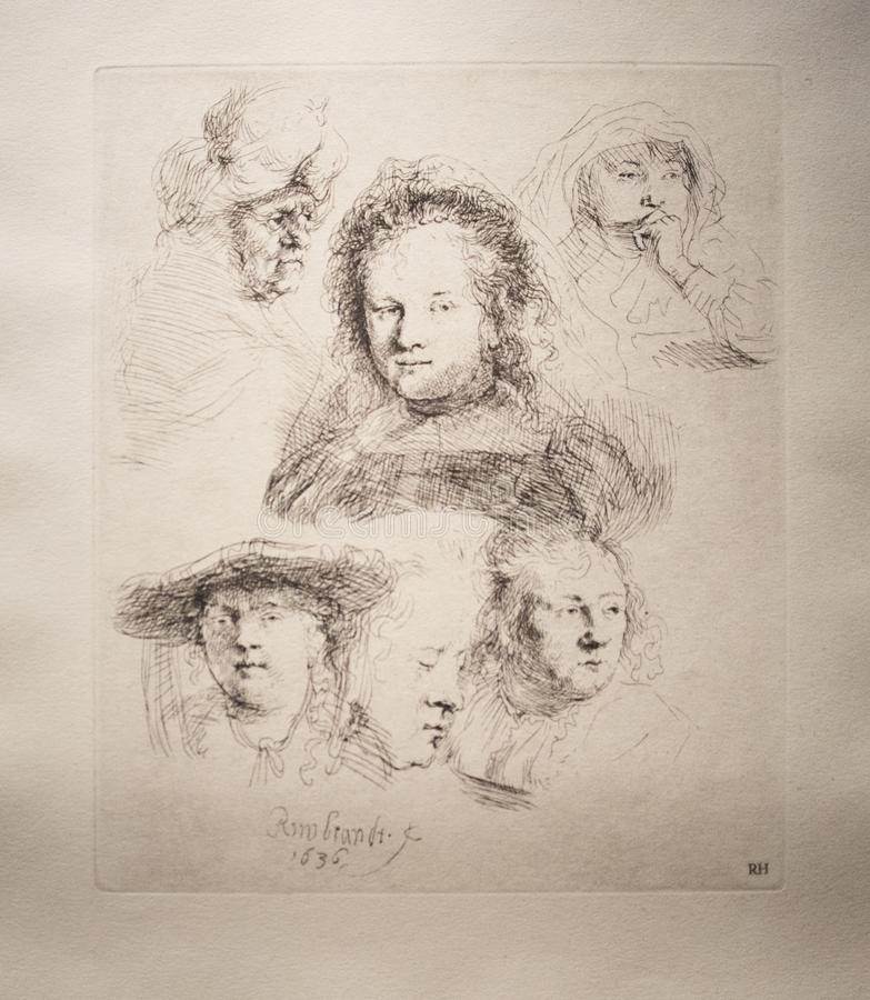 Sketch of five heads of Saskia and one of an old woman from 1636. by Rembrandt. Sketch of five heads of Saskia and one of an old woman from 1636. This is an royalty free illustration