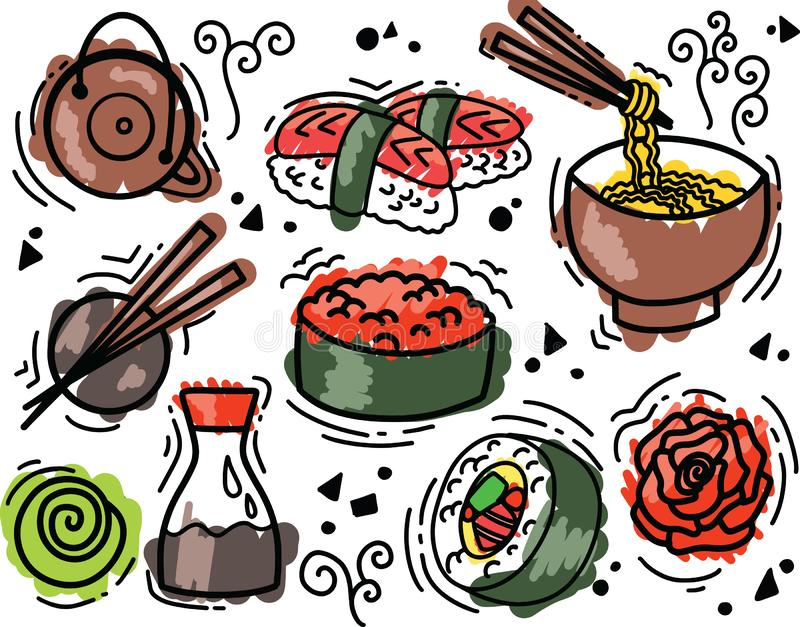 Sketch flat food vector illustration with asian snacks, tea, noodles and Sushi rolls traditional seaweed. Asia cuisine restaurant delicious vector illustration