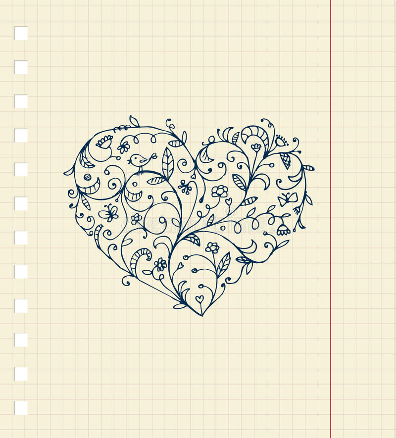 Download Sketch Of Floral Heart Ornament On Notebook Sheet Stock Vector - Illustration of love, beauty: 17201870