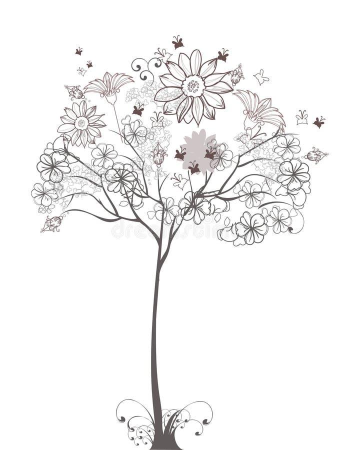 Sketch of a floral tree vector illustration