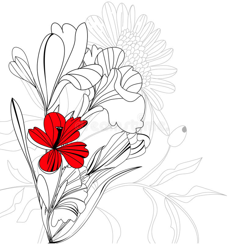 Sketch with flowers vector illustration