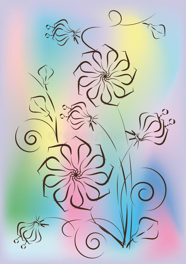 Download Sketch of flowers stock vector. Image of background, flourish - 20055680