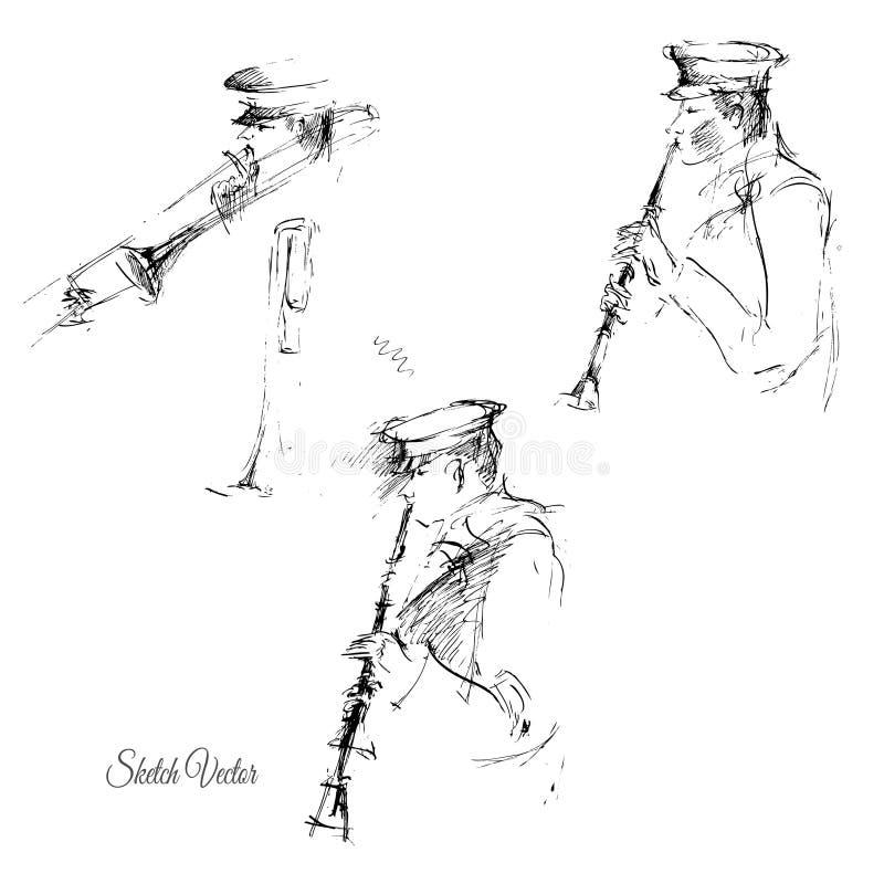 Sketch of flutist. Vector illustration vector illustration