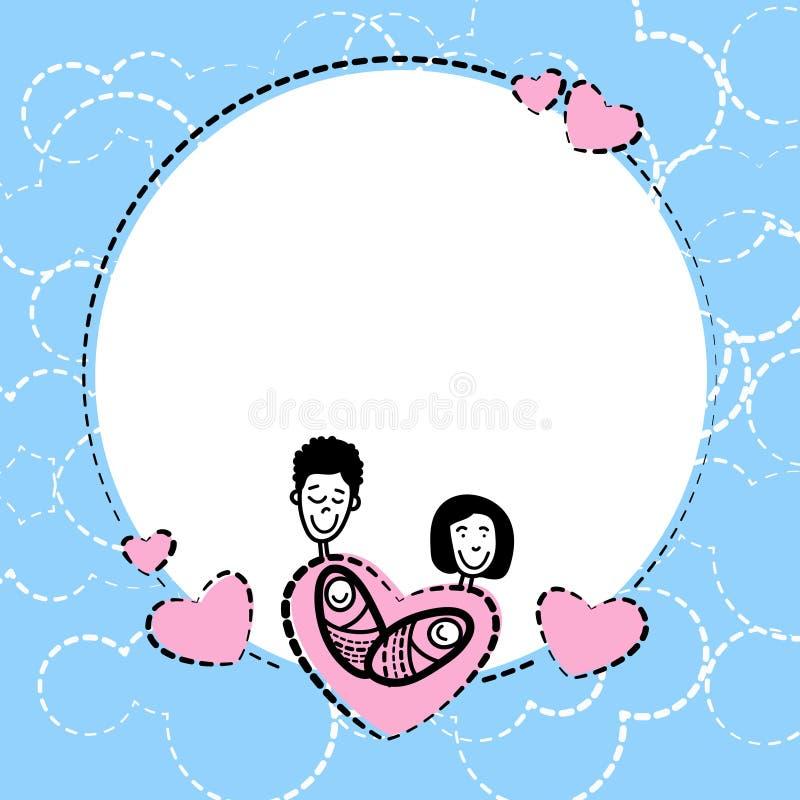 Sketch Frame Hand Draw Family Parents Kids Heart Shape Love Stock ...