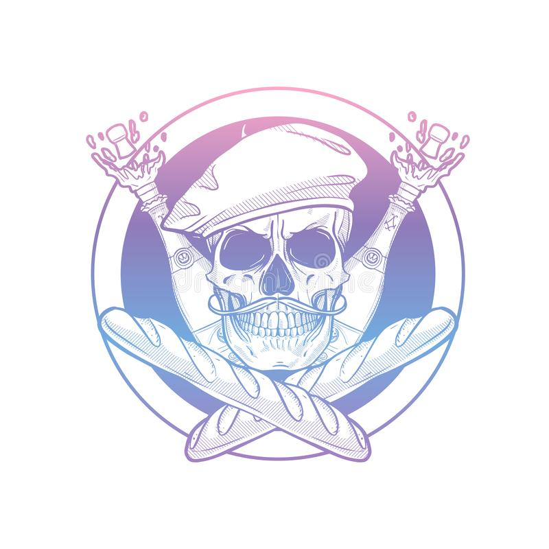 Sketch french skull with beret stock images