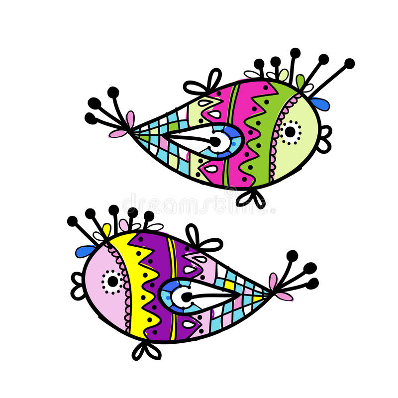 Sketch of funny fishes for your design. This is file of EPS8 format vector illustration