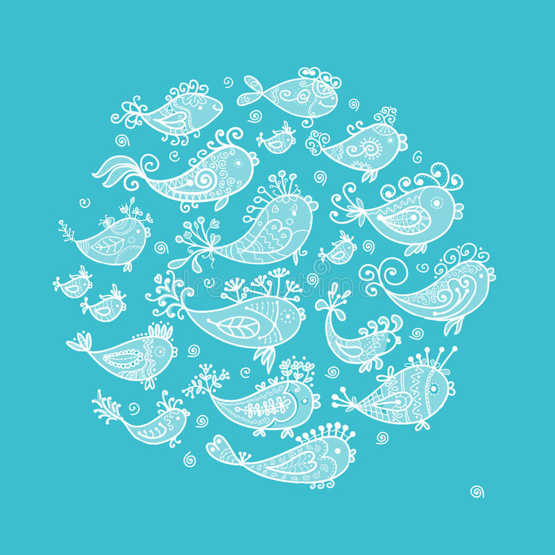 Sketch of funny fishes for your design. This is file of EPS10 format royalty free illustration