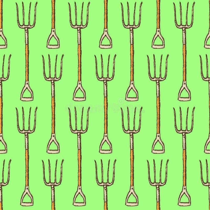 Sketch garden fork, vector seamless pattern stock illustration