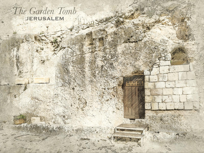 Sketch of Garden Tomb, Jerusalem. Sketch of Garden Tomb in retro style, raster illustration, travel greeting card, postcard, poster with cityscapes of Jerusalem stock illustration