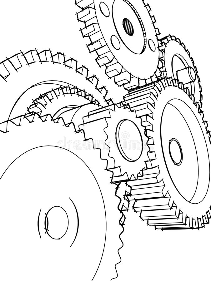 Sketch gears royalty free stock image