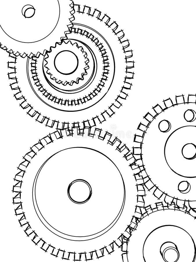 Sketch gears stock photo