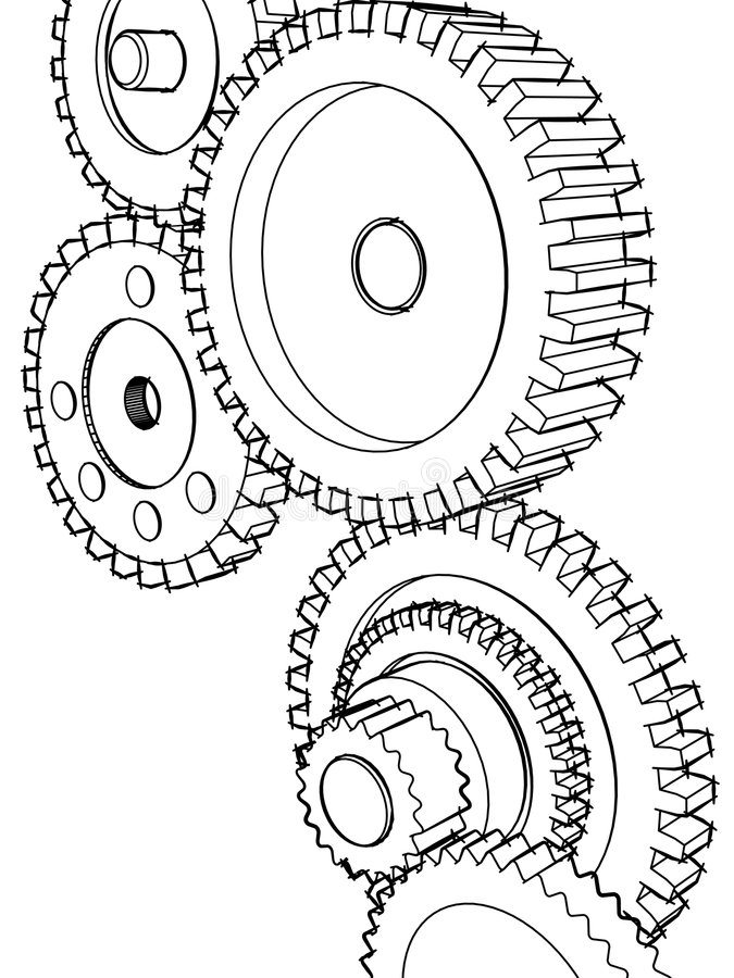 Sketch gears stock illustration