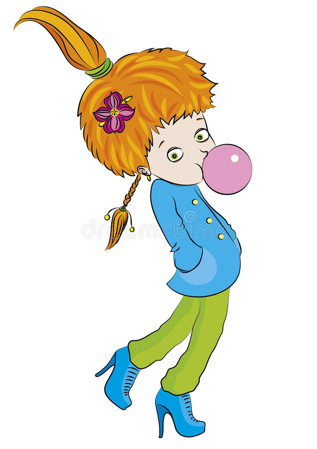 Sketch-girl-with-bubble-gum-color stock illustration