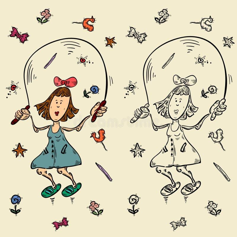 Sketch girl certoon hero stock illustration