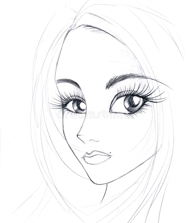 Download Sketch of girl's face stock illustration. Image of face - 8381738