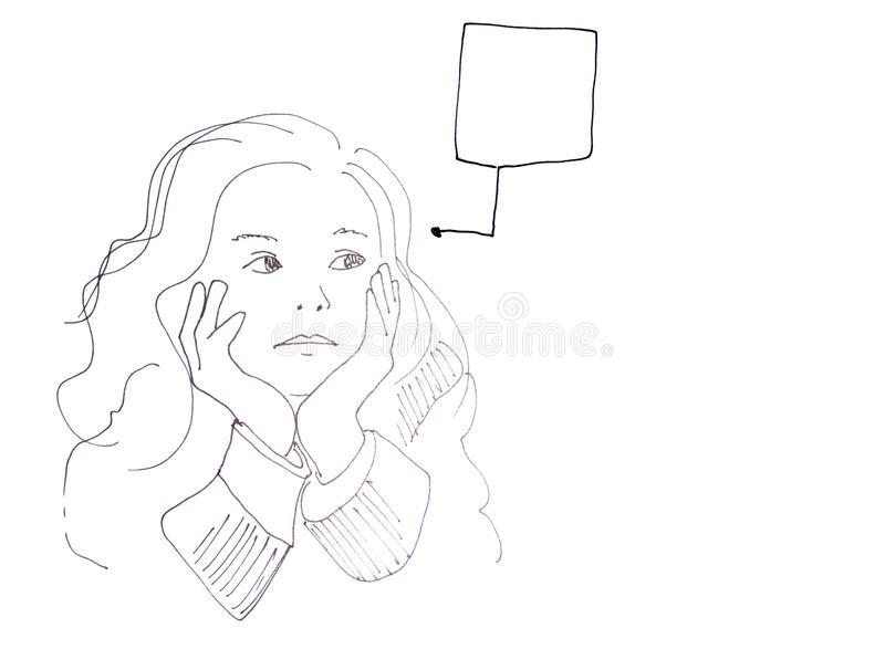 Download Sketch: Girl With Speech Bubble Stock Illustration - Image: 13450567