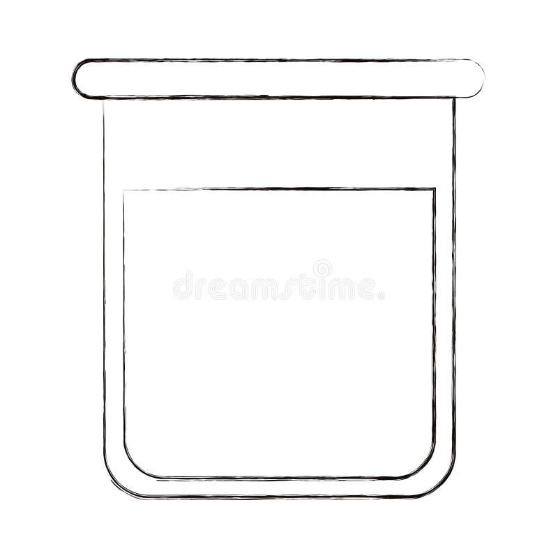 Sketch gjorde suddig konturbildglasflaskan för laboratorium med vätskelösningen royaltyfri illustrationer