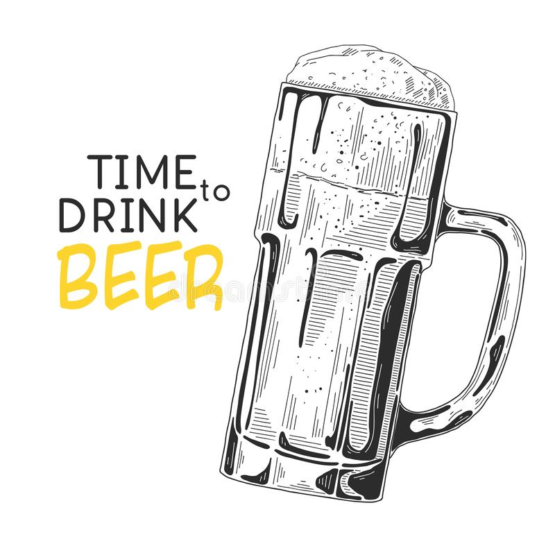 Sketch of a glass of beer. Text: Time to drink beer. Vector illustration of a sketch style.  stock illustration