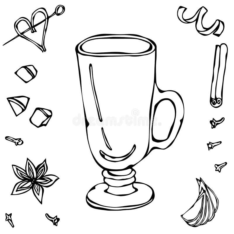 Sketch Glass with Irish Coffee. Hand Drawn Vector illustration. royalty free illustration