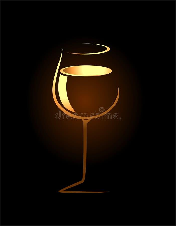 Sketch of golden wine glass royalty free illustration