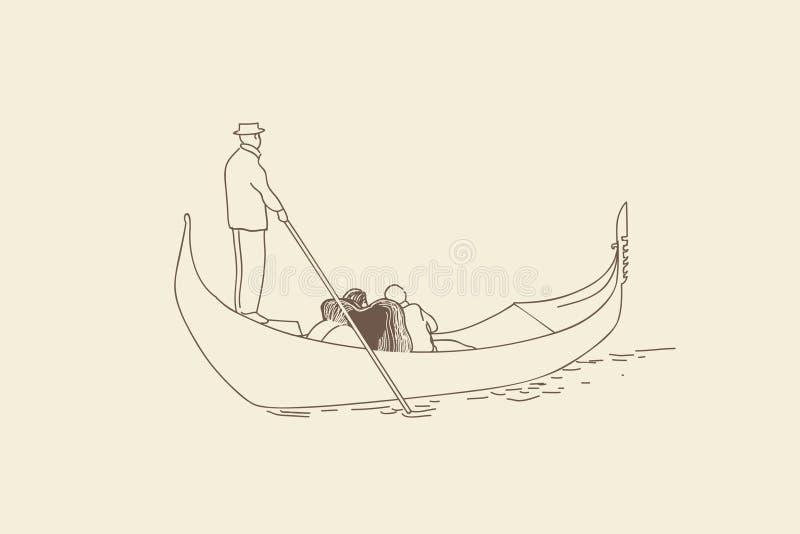 SKETCH.The gondeliervlotters royalty-vrije illustratie