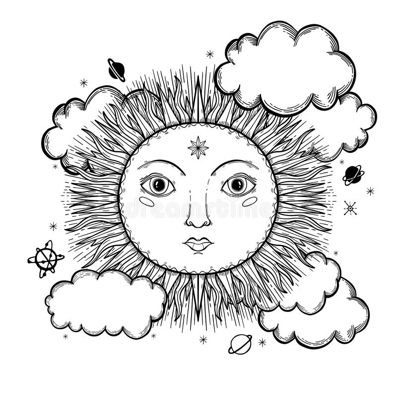 Sketch graphic illustration Beautiful Sun face with mystic and occult hand drawn symbols. Vector illustration. Vintage Hands with stock illustration