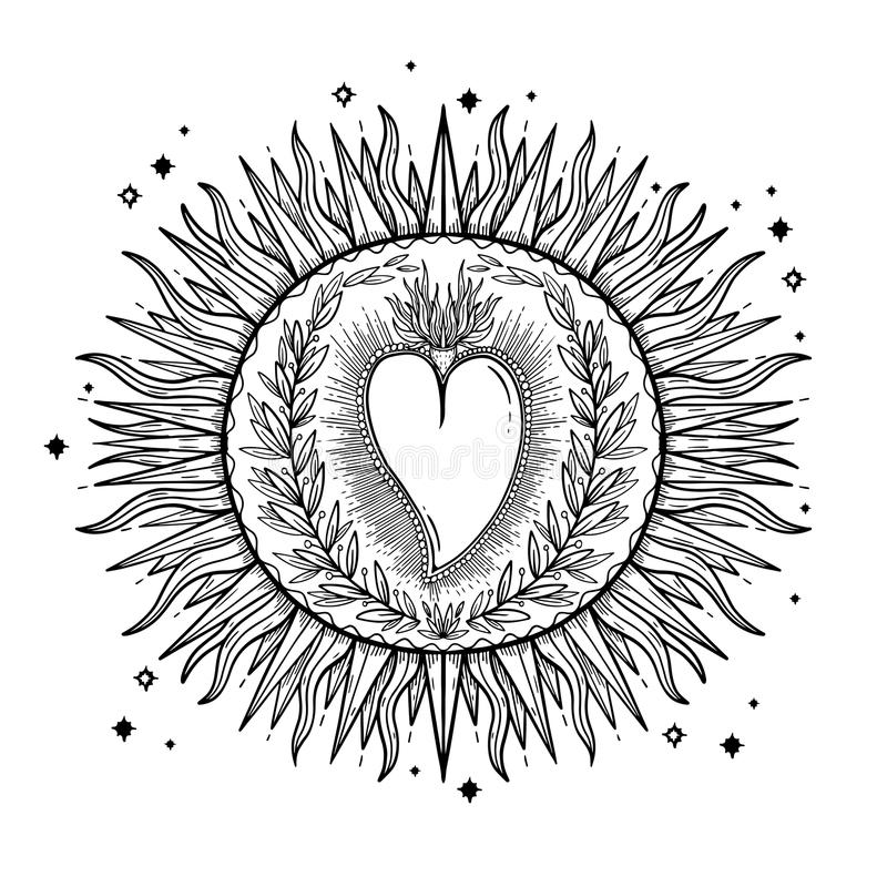 Sketch graphic illustration Beautiful Sun with mystic and occult hand drawn symbols. Vector illustration. Vintage Hands with Old F vector illustration