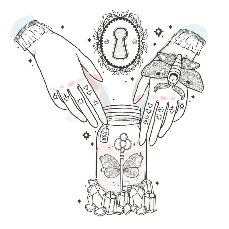 Sketch graphic illustration with mystic and occult hand drawn symbols. Hands reach for the keys to open the keyhole. Vector illust royalty free illustration