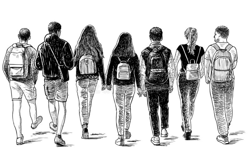 Sketch of a group of students friends walking down the street. Hand drawing of a group of the teen students going on a stroll vector illustration
