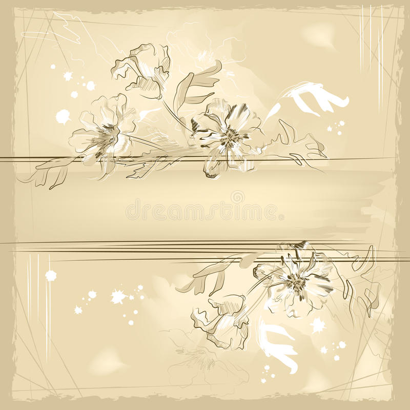 Sketch grunge flowers on watercolor background stock photo