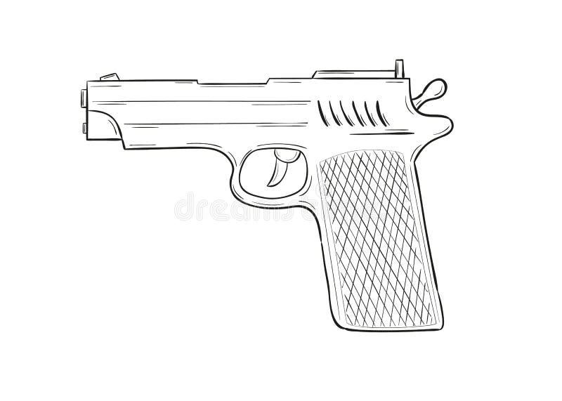 Sketch of the gun vector illustration