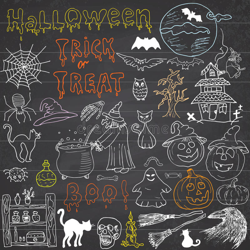 Sketch of halloween design elements with punpkin, witch, black cat, ghost, skull, bats, spiders with web. Doodles set with stock illustration