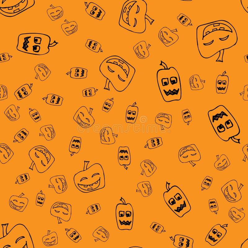 Sketch Halloween pumpkin seamless outline. Halloween pumpkin seamless outline in a hand-drawn style. October harvest background. Vector freehand set. Vector royalty free stock photo