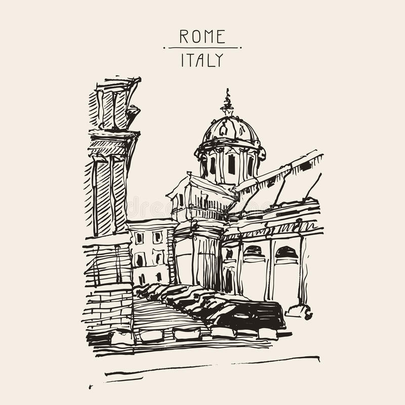 Sketch hand drawing of Rome Italy famous cityscape, travel card vector illustration