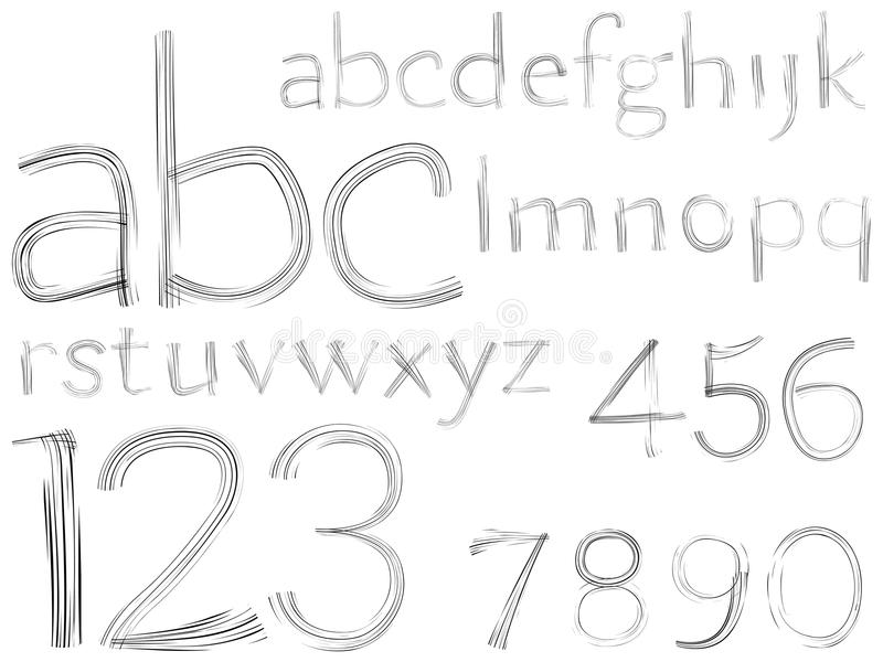Download Sketch Hand Drawn Alphabet And Numbers Stock Vector - Illustration: 22874413