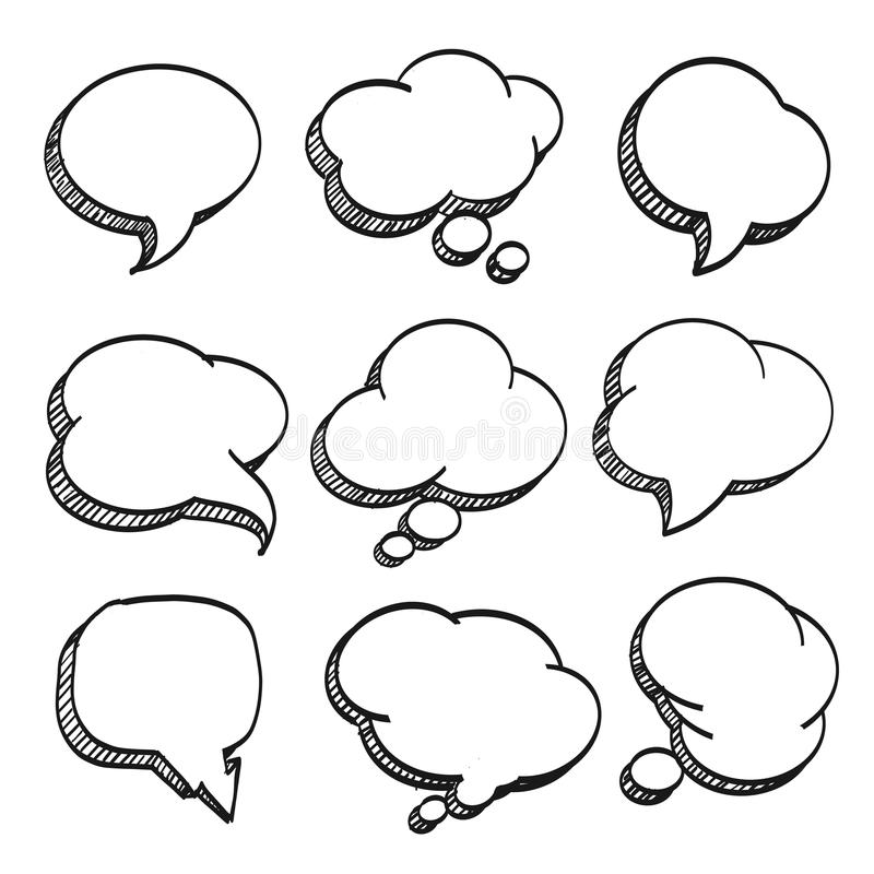 Sketch Of Hand Drawn Comic Speech Bubble. Stock Vector ...
