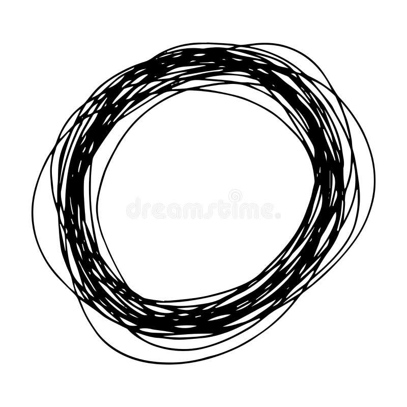 Hand drawn Pencil Scribble Ellipse Shape. Sketch Hand drawn Ellipse Shape. Abstract Pencil Scribble Drawing. Vector illustration royalty free illustration