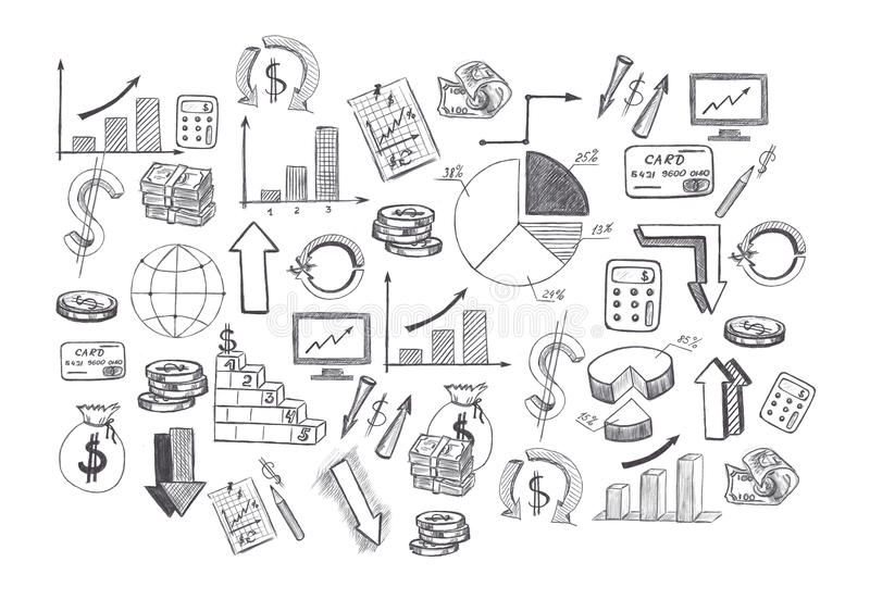 Sketch Of Hand Drawn Graphics Pictures And Diagrams Related To ...