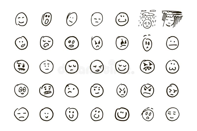 Sketch of hand drawn set of cartoon emoticon emoji on white background vector illustration