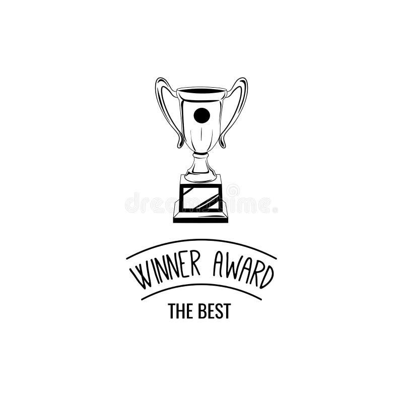 Sketch of hand drawn winner cup vintage. Vector illustration vector illustration
