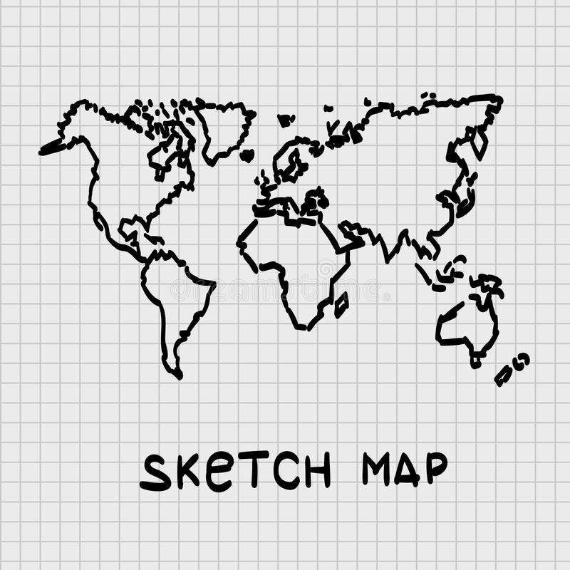 Sketch of hand drawn World map. vector illustration