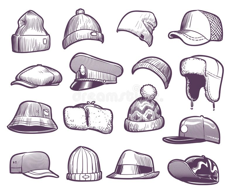 Sketch hats. Fashion mens caps design. Sports and knitted, baseball and trucker cap, seasonal headwear drawing vector stock illustration